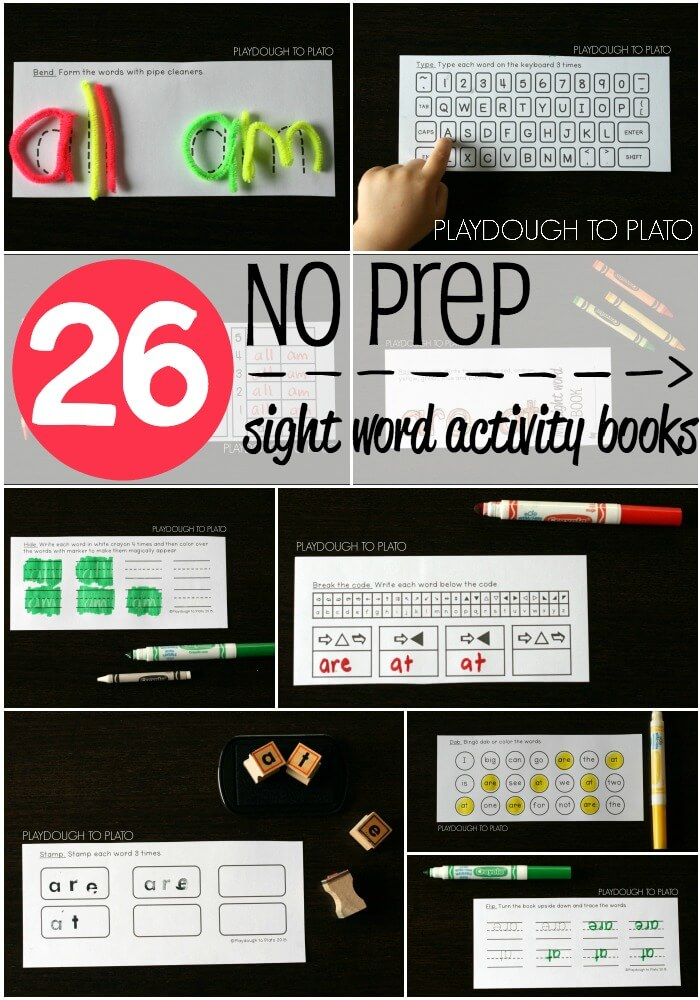 NO PREP Sight Word Activity Books