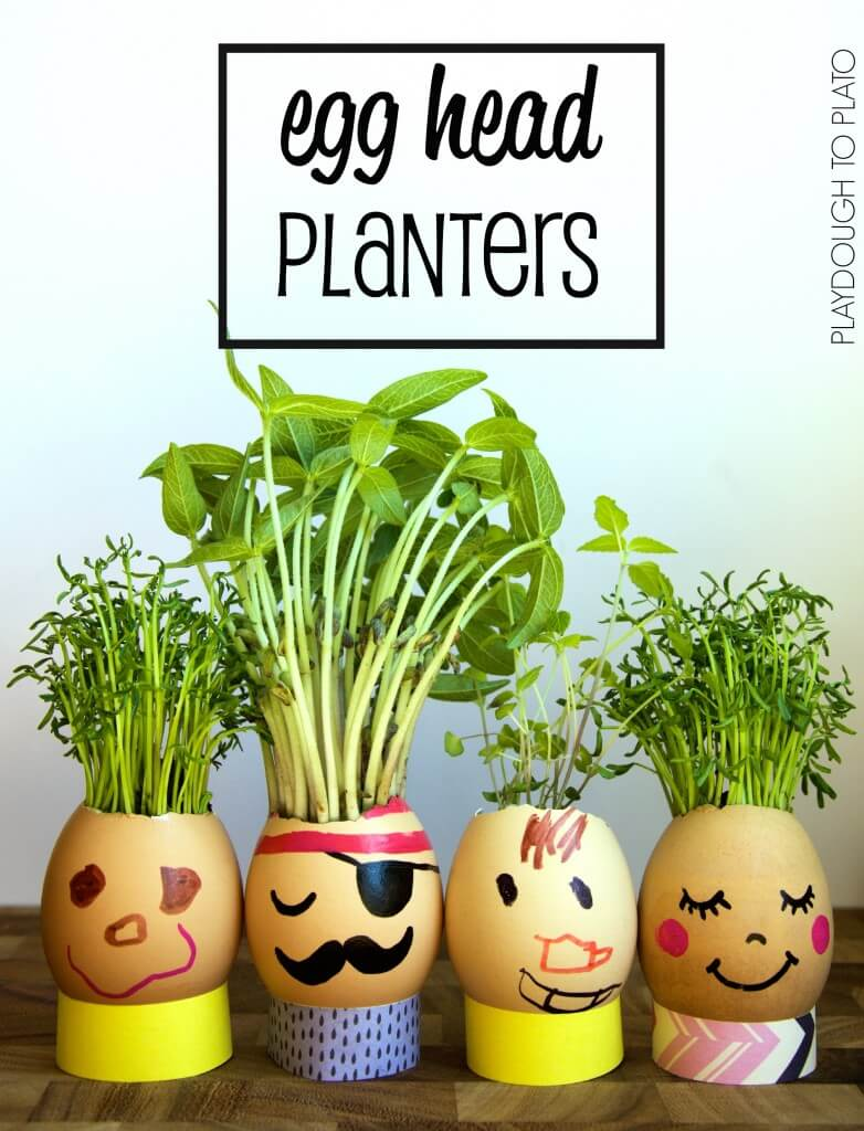 Adorable egg head planters for kids!