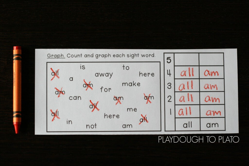 Count and graph the sight words