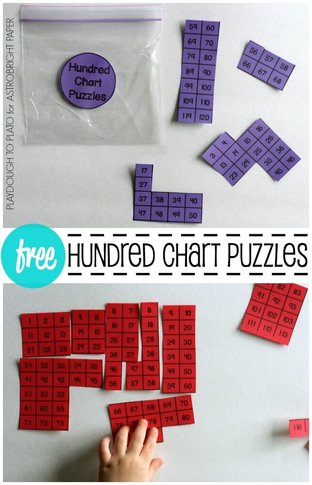 Free colorful hundred chart puzzles