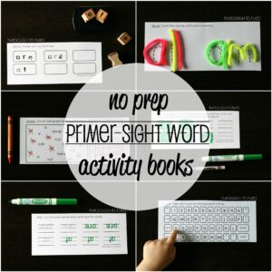 No Prep Primer Sight Word Activity Books - 2000