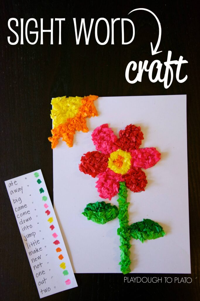 Tissue Paper Sight Word Craft - Playdough To Plato