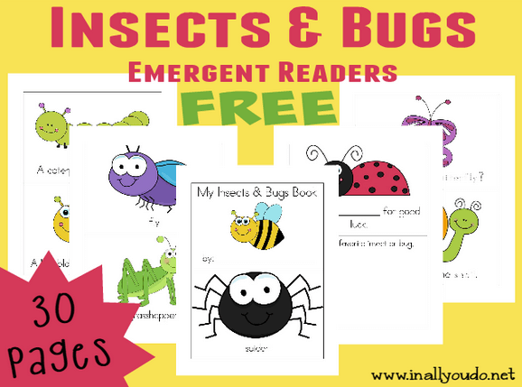 Free Insect and bug emergent reader books.