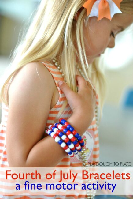 fourth of july bracelets a fine motor activity - Playdough to Plato