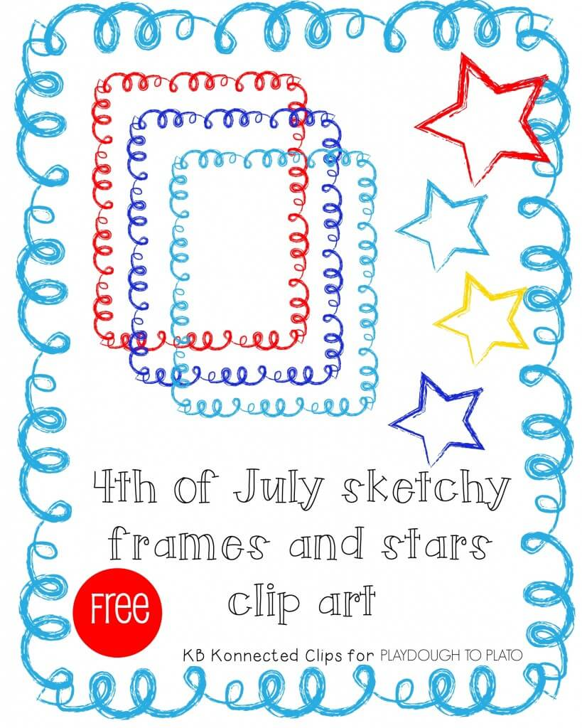 4th of July Sketch Frames and Stars