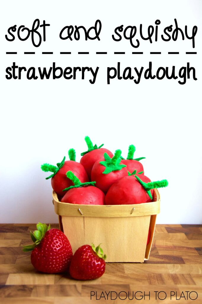 Homemade strawberry playdough. So squishy and soft.