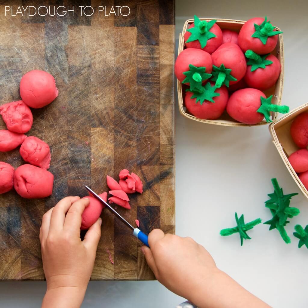 Soft and squishy strawberry playdough recipe