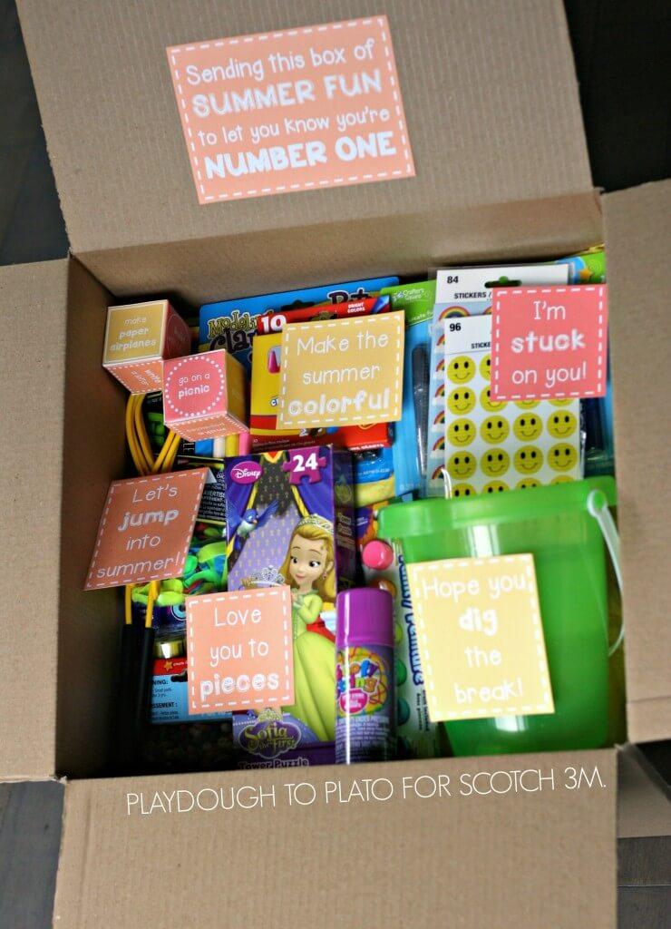 Super fun idea! Send a summer fun box to kids.