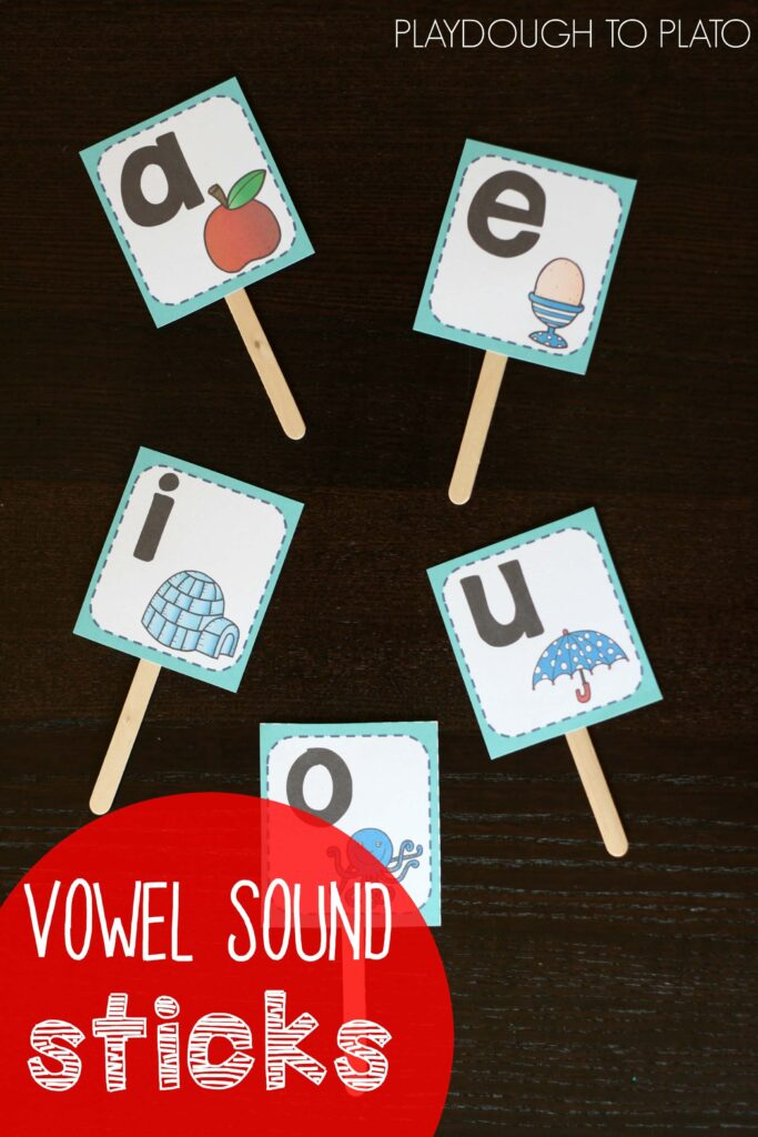 Vowel Sound Sticks. What a fun way to help kids learn tricky vowel sounds!