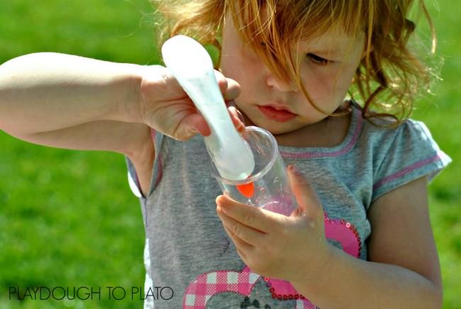 squirting water fine motor activity - Playdough to Plato.2