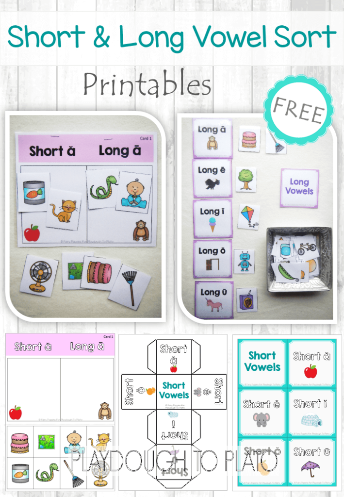 photo about Printable Short Vowel Games identify Absolutely free Shorter Vowel and Extensive Vowel Form - Playdough Toward Plato