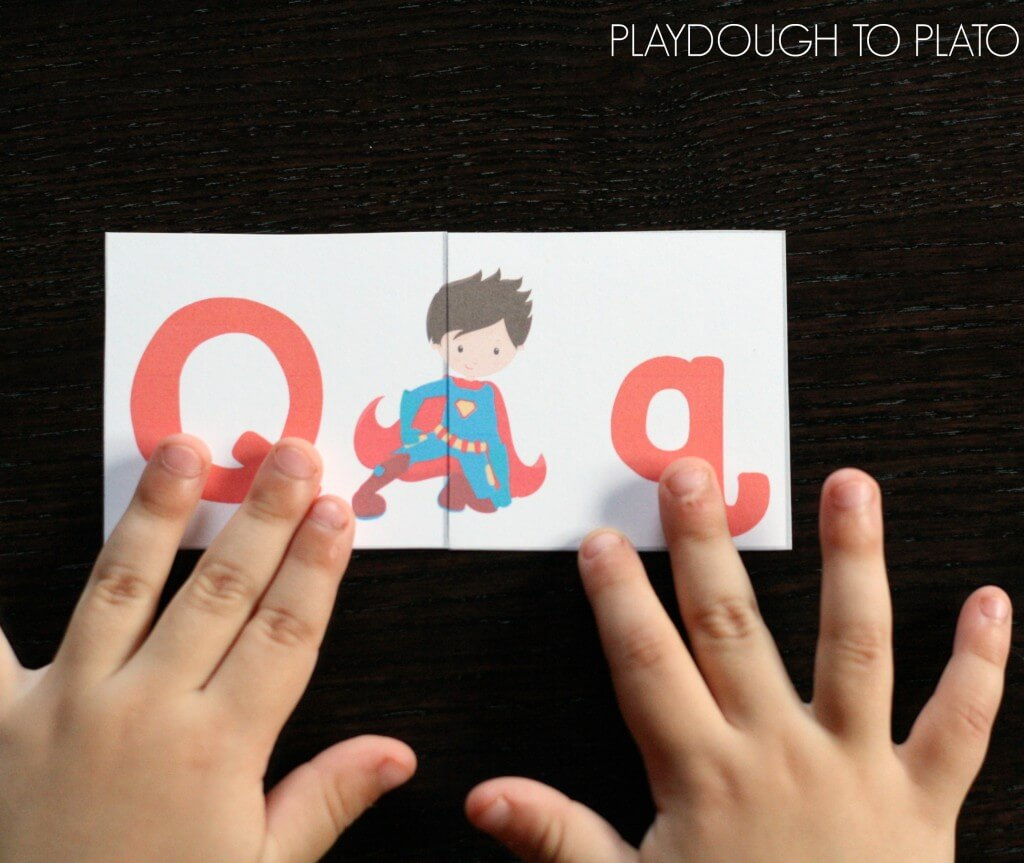 Such an awesome ABC game! Free superhero alphabet match up.