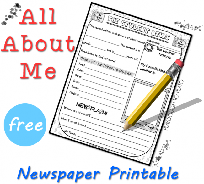 photo relating to All About Me Free Printable named All With regards to Me Cost-free Printable - Playdough In direction of Plato