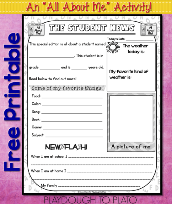 image relating to Printable All About Me identify All More than Me Totally free Printable - Playdough Towards Plato