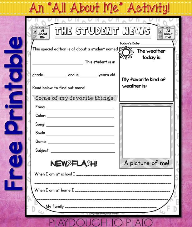 image relating to Free Printable All About Me Worksheet titled All Pertaining to Me Totally free Printable - Playdough Towards Plato