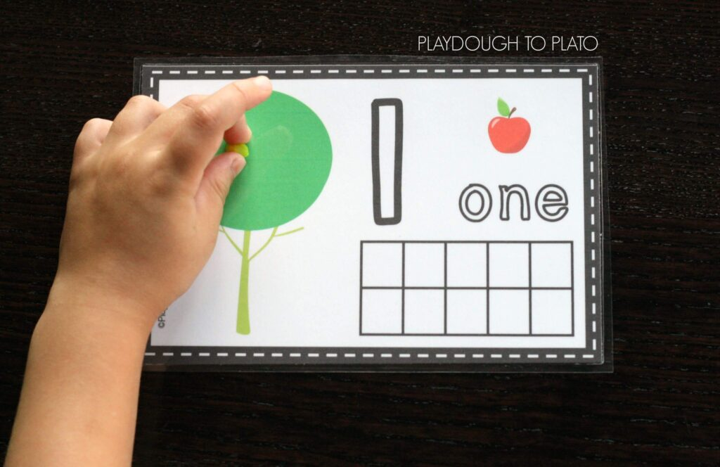 FREE Apple Playdough Number Mats