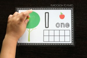 Free Apple Playdough Mats