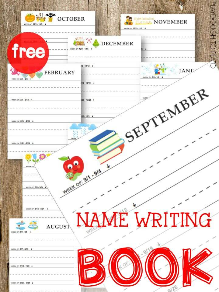 FREE Name writing book. Such an easy way to track kids' progress. This would be an adorable keepsake too!