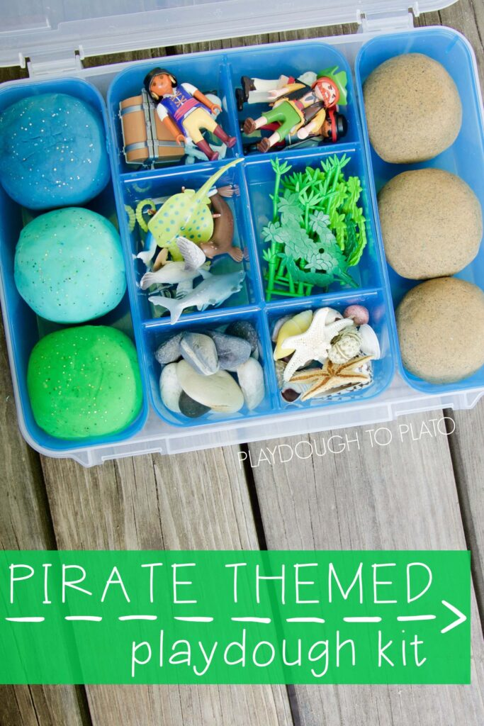 Pirate Themed Playdough Kit. Such a fun rainy day activity or DIY gift idea for kids.