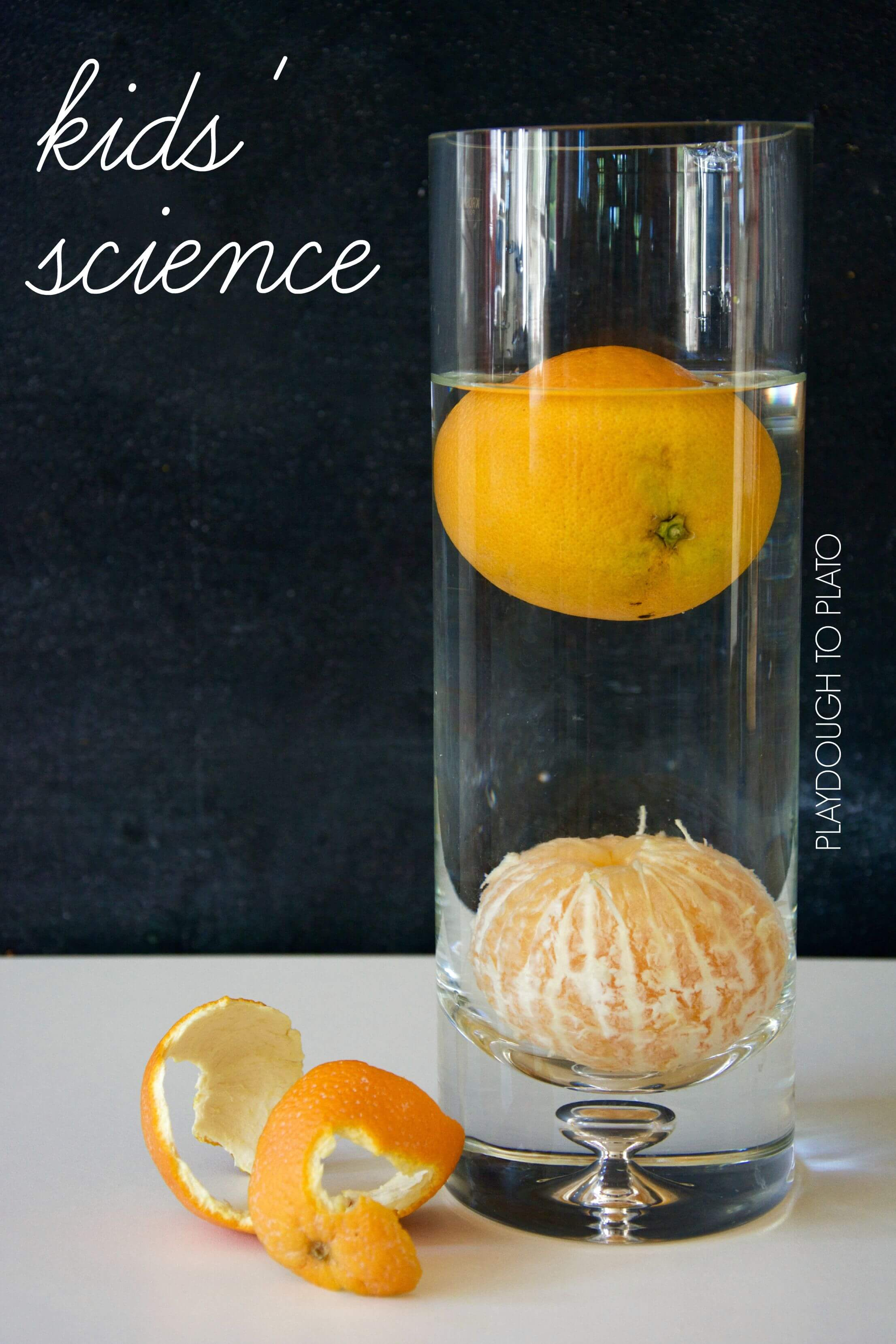 Quick and easy kids science activity. Make an orange sink and float!
