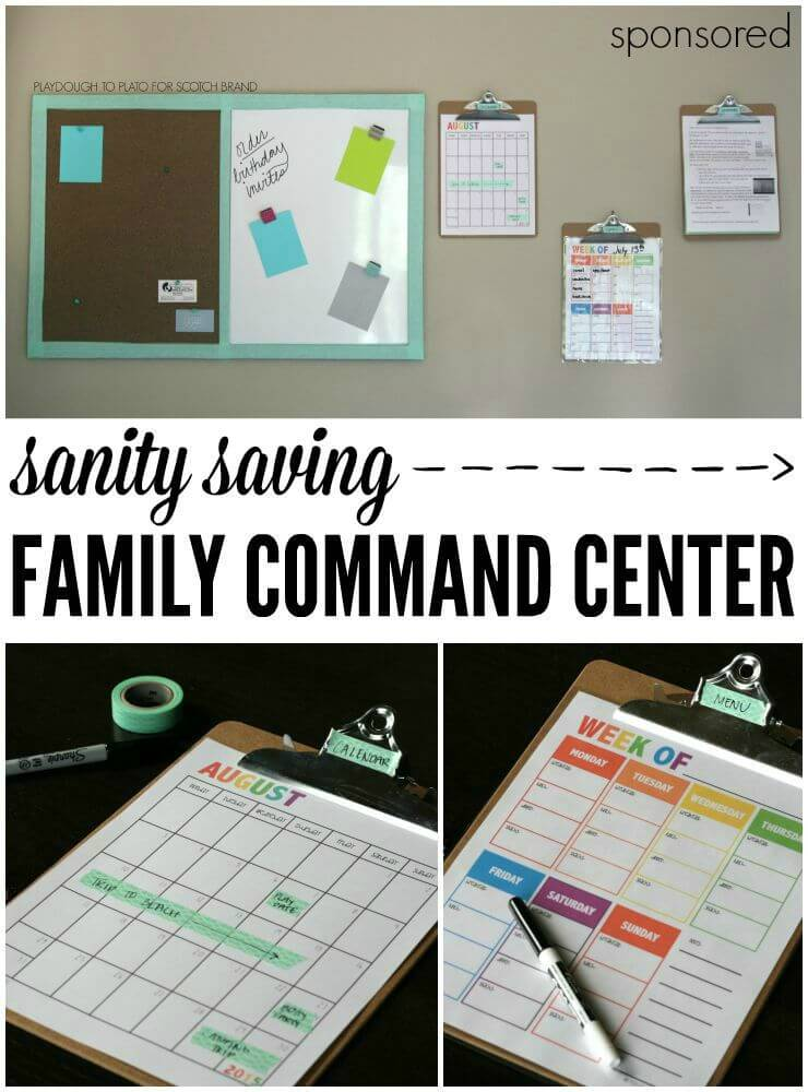 Sanity Saving Family Command Center. Free school calendars, meal planning sheets and helpful tips on creating a super organized family command center.