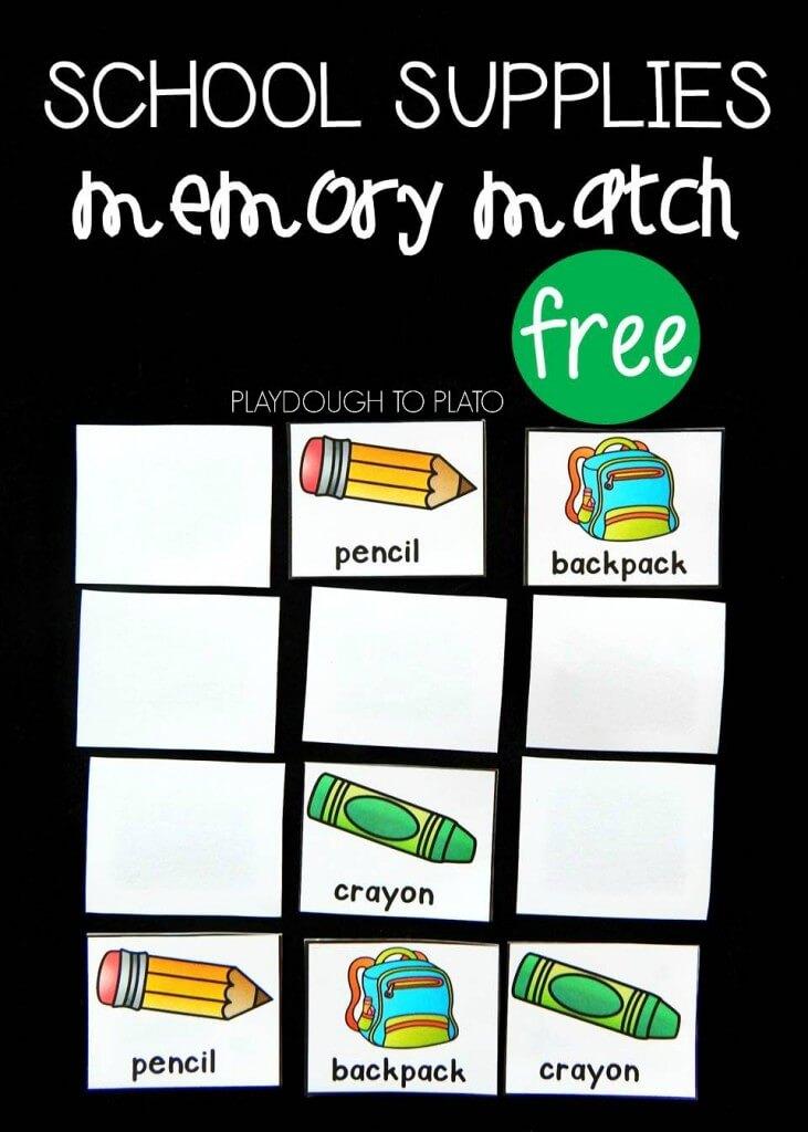 free back school memory match