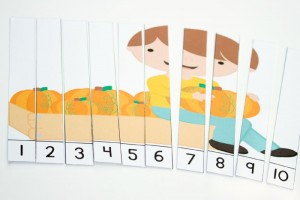 These free pumpkin puzzles for counting are perfect for kindergarteners in the fall!