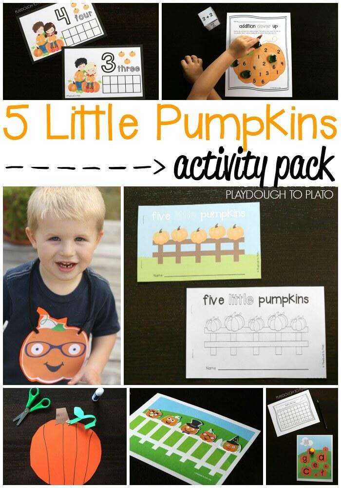 Awesome 5 Little Pumpkins Activity Pack. Little reader books, playdough mats, math games, ABC activities... tons of fun ideas!