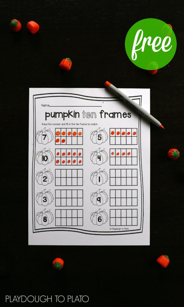 FREE pumpkin ten frame sheets. Perfect fall activity for preschoolers or kindergarteners!