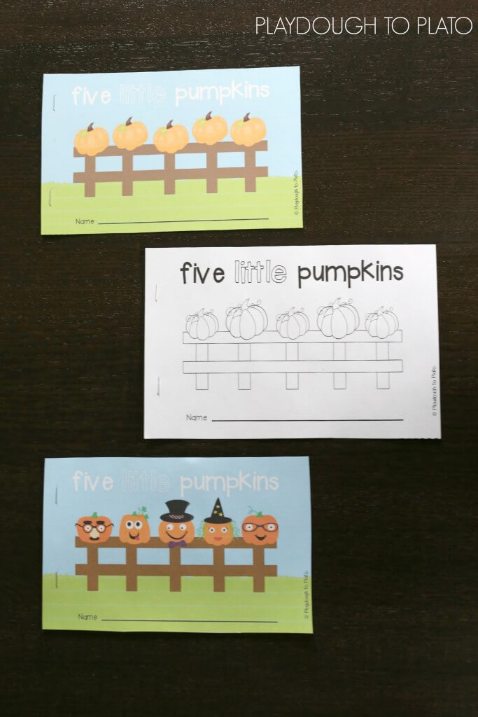 Five Little Pumpkins Little Readers. I love that there are color and black and white versions in the same pack!