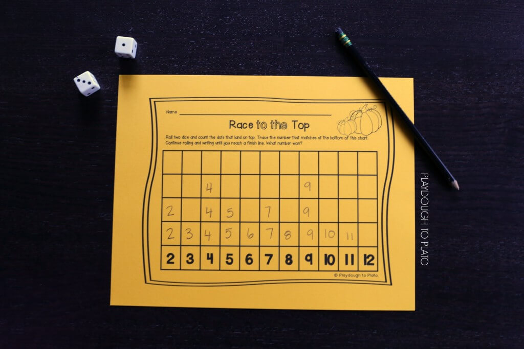 Fun number game for kids. Roll the die, add up the dots and write the sum on the chart. Perfect for fall!