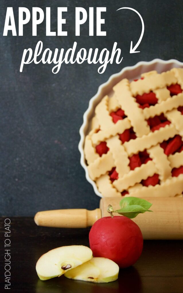 Soft and squishy apple pie playdough