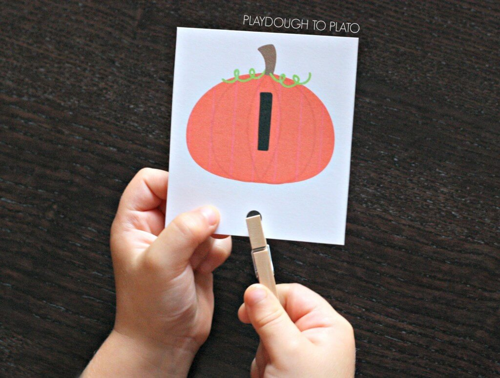 Super fun count and clip cards. Perfect preschool math activity for fall!