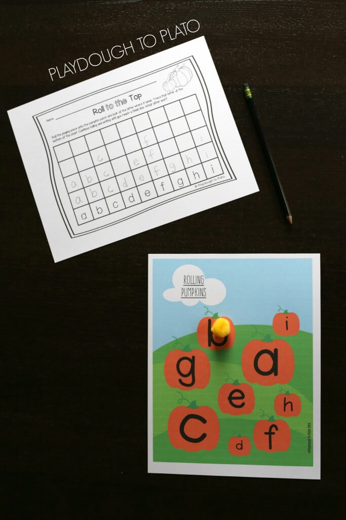 Super fun roll and write ABC game for kids. Perfect for Halloween or fall!