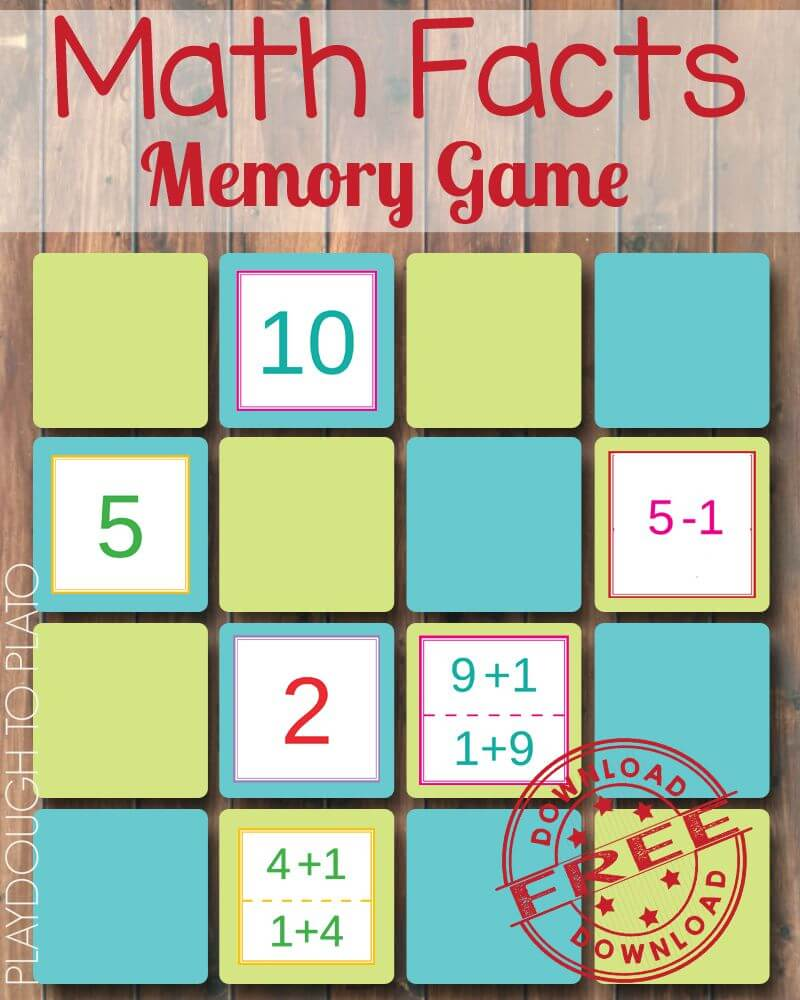 What a fun way to practice beginning addition and subtraction! Free math facts memory game for kids.