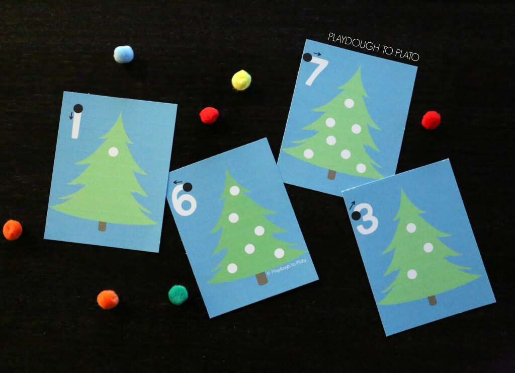 Adorable Christmas tree counting cards. Great fine motor activity, counting practice and number writing in one!