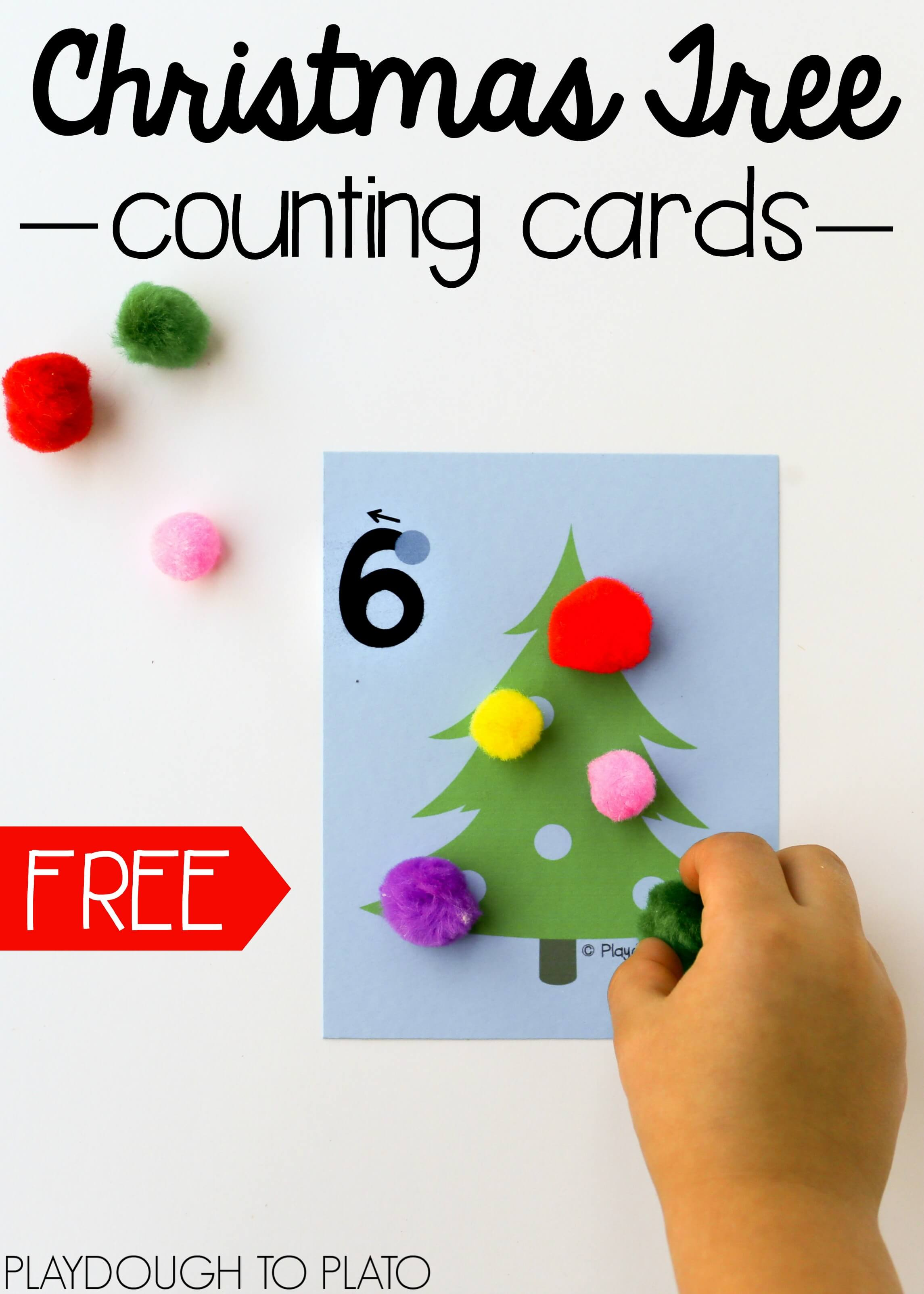 Free Christmas Tree Counting Cards