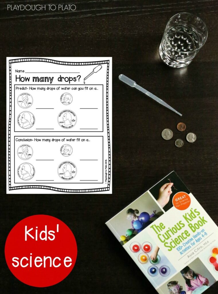 Free Printable How Many Drops Kids' Science Experiment.