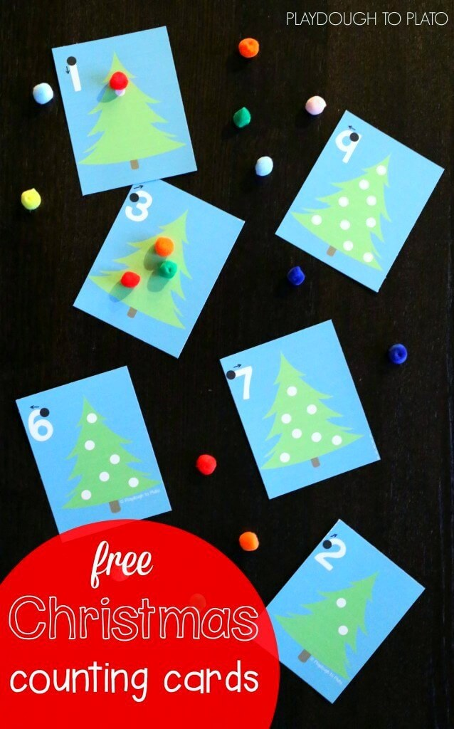 Christmas Tree Counting Cards Playdough To Plato
