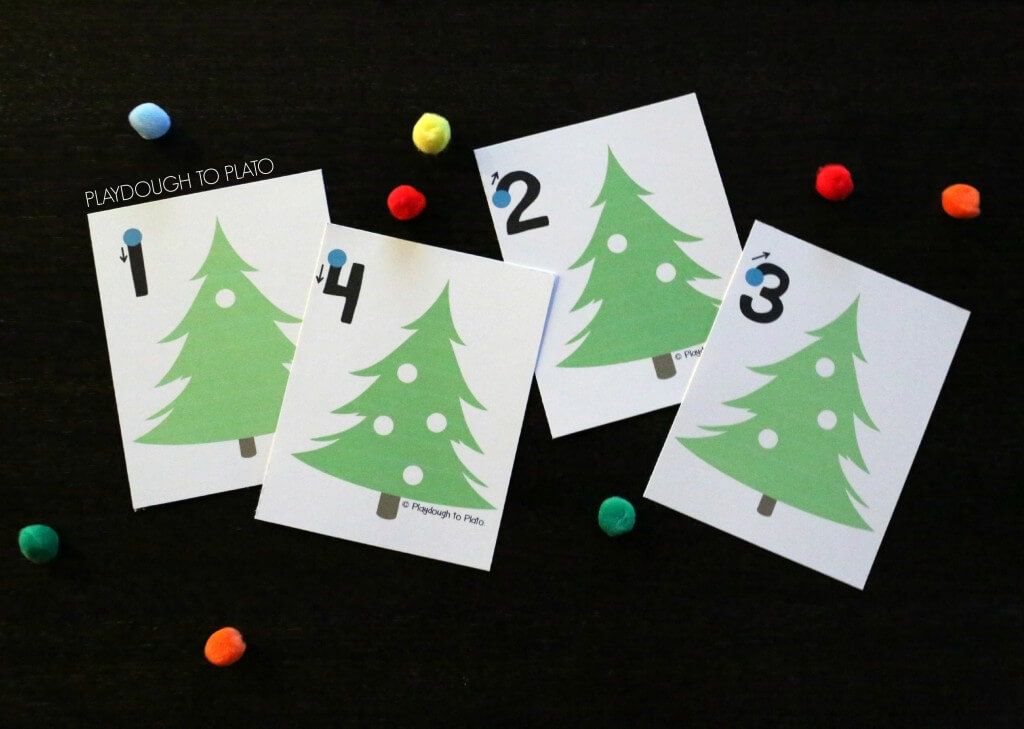Super cute Christmas tree counting cards! Practice number writing, fine motor skills and counting!