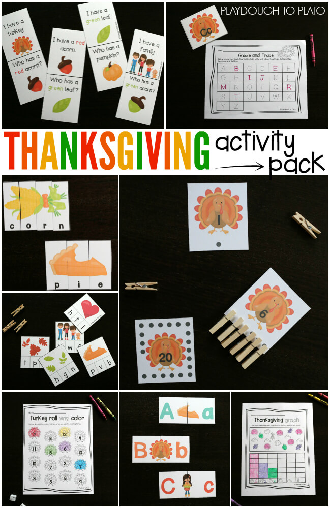 Thanksgiving Activity Pack. Tons of fun preschool and kindergarten activities for kids. ABC games, counting activities, graphing, little readers... loads of stuff!