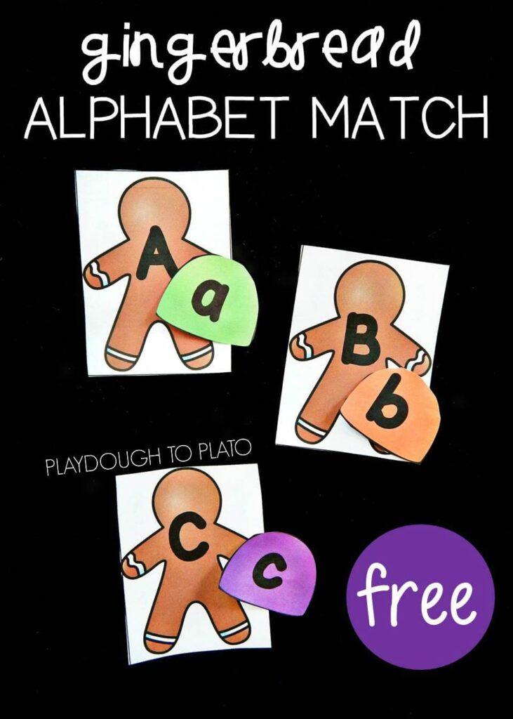 gingerbread alphabet match pin