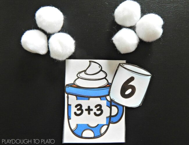 hot chocolate addition game with pom poms