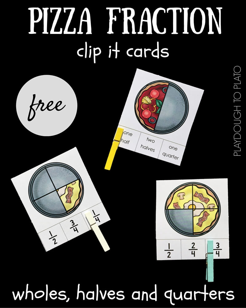 Use these quick and easy pizza fraction clip it cards to help kids understand the concepts behind how fractions work.