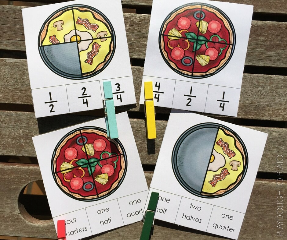 Quick and easy clip it cards for practicing pizza fractions!