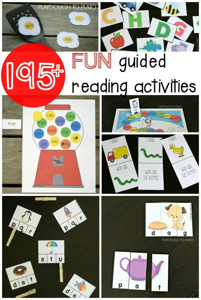 195 addictively fun guided reading activities and growing! Sight word games, word work activities, alphabet games.... lots and lots of ideas for preschool, kindergarten and first grade!