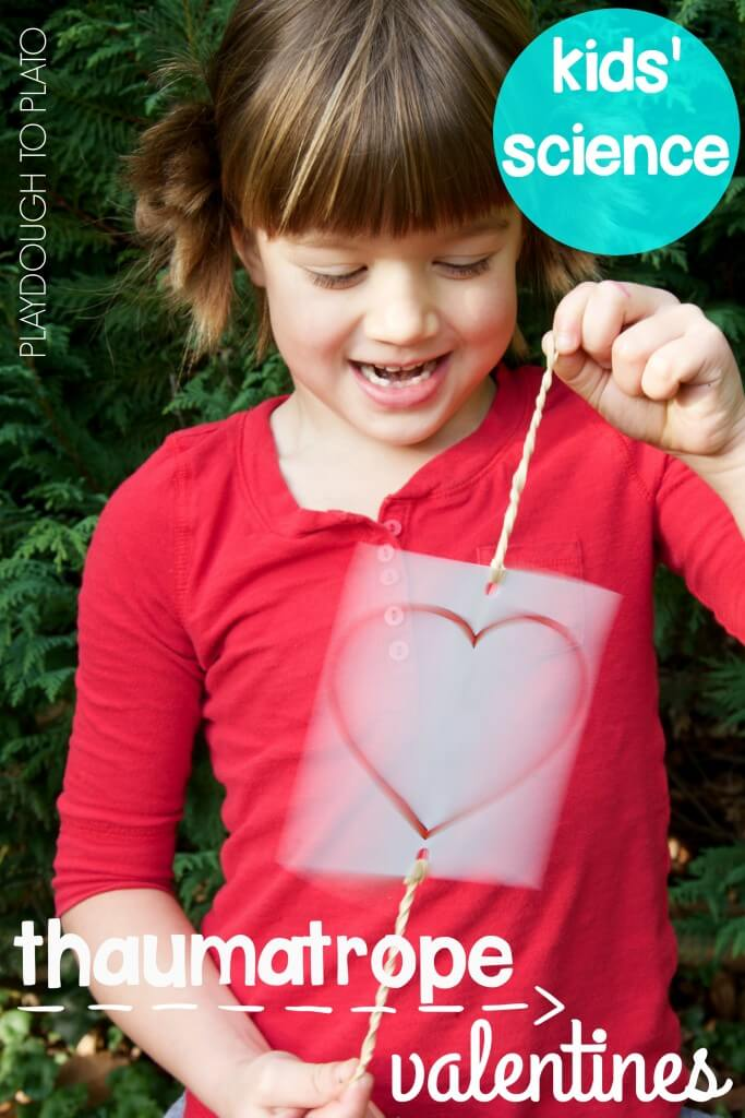 Awesome valentine science for kids! Make magic thaumatrope valentines. Fun STEM activity!