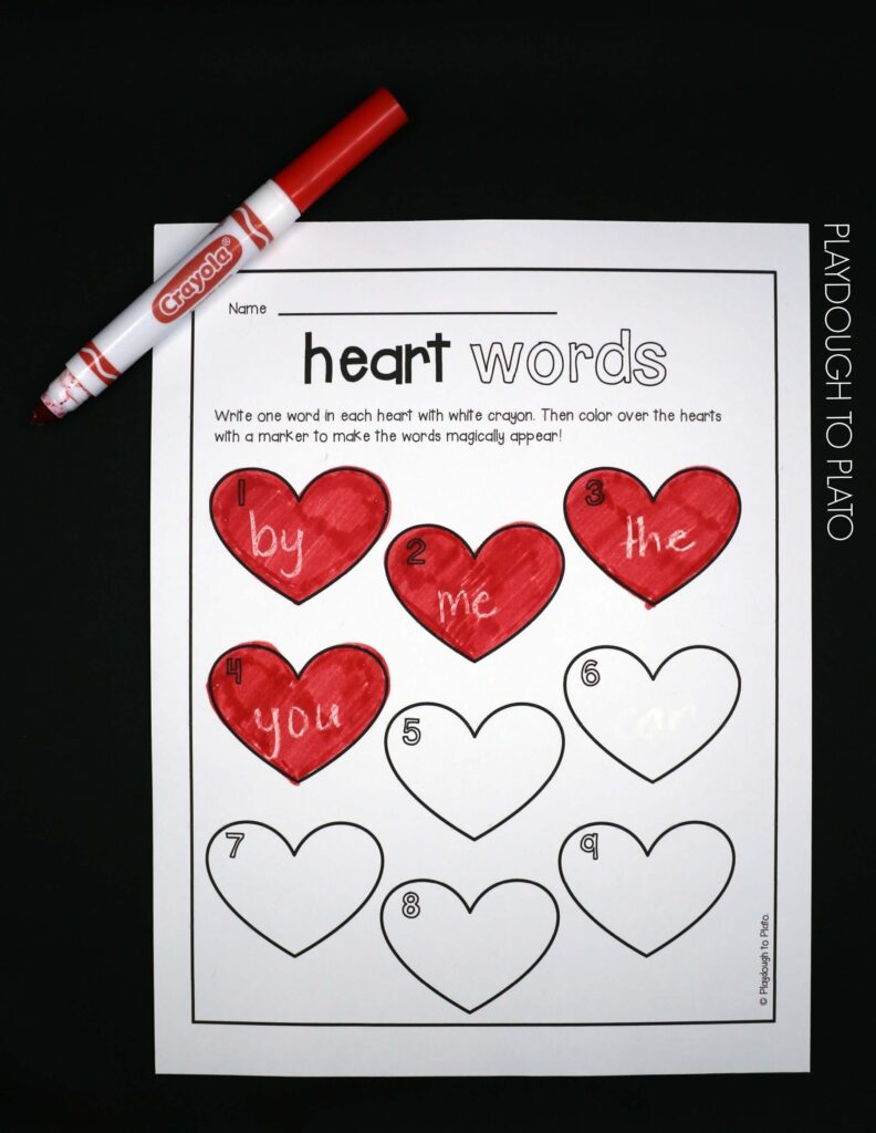Fun sight word game for kids! Make the words magically appear when you color over the heart.