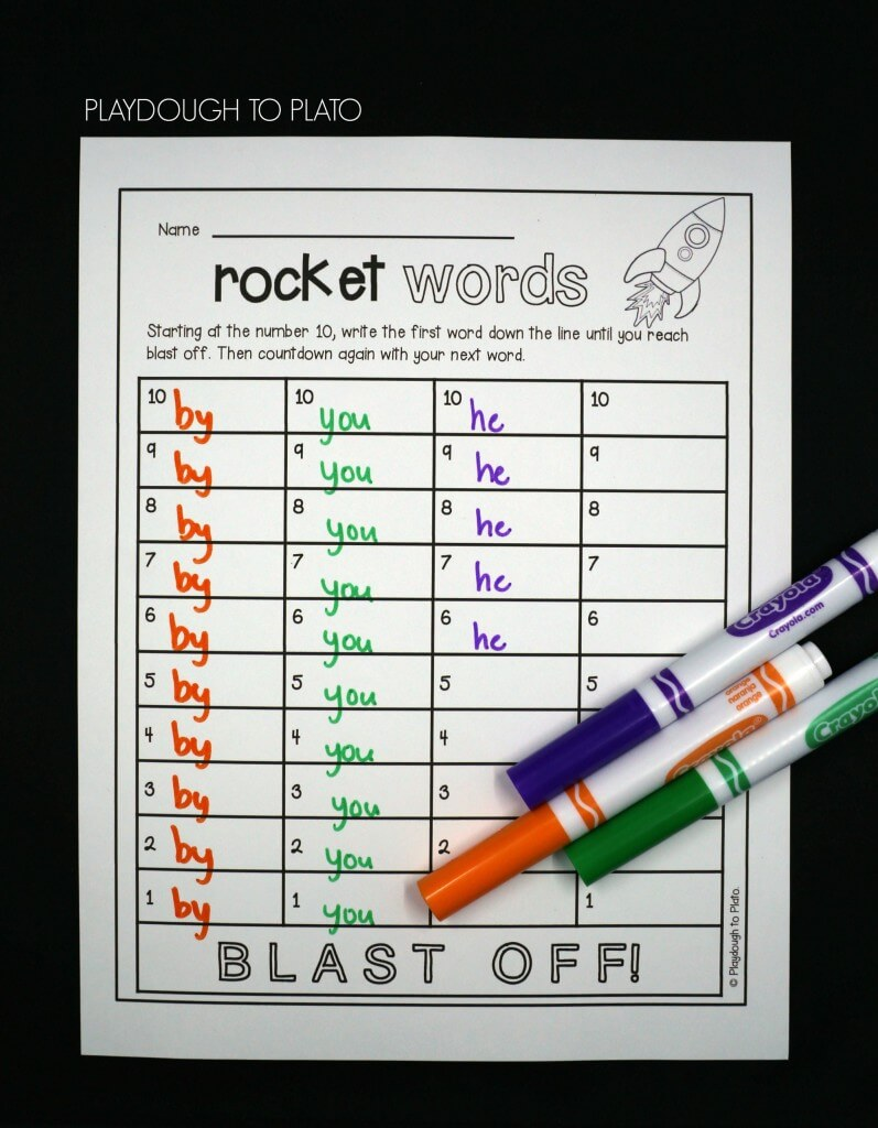 Starting at the number 10, write the first word down the line until you reach blast off. Then countdown again with your next word!