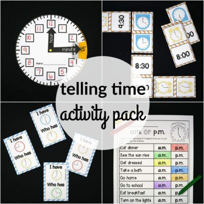 Super fun telling time activities for kids! Games, no prep printables, craftivities and more!